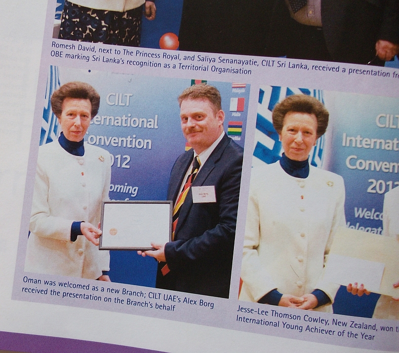 Alex Borg receiving recognition from HH Princess Anne as featured in CILT's logistics and transport publication called 'Focus'